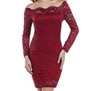 Red long-sleeved lace dress